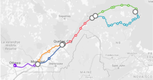 Orleans Express between Ottawa, Gatineau, Montreal and Gaspe